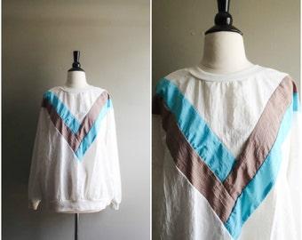 Vintage pullover lightweight striped sweatshirt / geometric track jacket