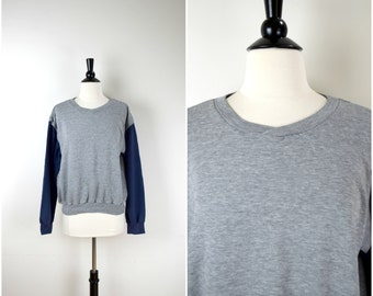 Vintage Levi's grey retro sweatshirt / two tone jersey jumper
