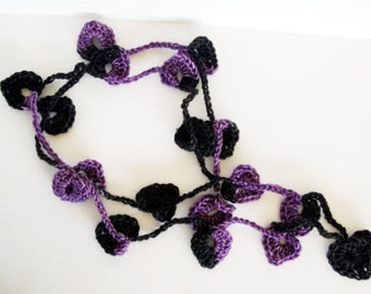 OOAK Black and Purple Crochet Lariat Necklace Hearts Hand Dyed Merino Wool Cashmere