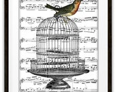 Colorful Bird on a Cage Vintage Illustrations Music Bood Page Art Print, Mixed Media, Altered Art, Home & Living, Home Decor, Gift Ideas