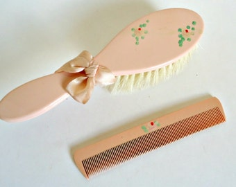 Vintage Pink Celluloid Baby Brush & Comb Set in the Box 1950's