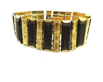 Kollmar Jourdan Bracelet, 1920s Art Deco, Rolled Gold, Dark Wood, Wide Cuff, German Germany, Vintage Art Deco Jewelry