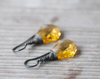 Yellow Crystal Earrings, Swarovski Jewelry, Wire Wrapped Earrings, Gift For Her, Yellow Jewelry, Swarovski Earrings, Autumn Earrings,