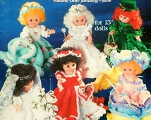 """20%OFF American School Of Needlework 13"""" DOLL-A-Month Volume One January - June - Crochet Doll Clothes Clothing Patterns"""