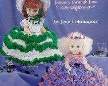 """20%OFF American School Of Needlework 13"""" BIRTHSTONE DOLLS Volume One January - June - Crochet Doll Clothes Clothing Patterns"""