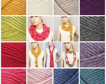 Crocheted lariat scarf , Knitted chain ring hoop  necklace lariat scarf ,long lariat scarf
