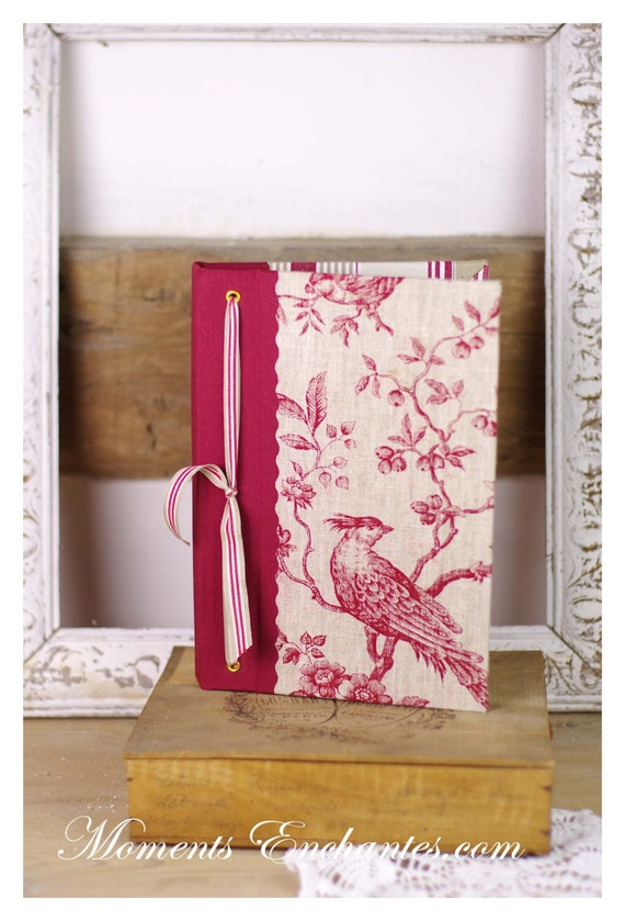 Garden book  bird  Guest book toile de jouy  linen