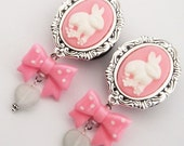 "1"" 25mm  Bunny Love Cameo Dangle Plugs -steel classy custom pretty 316L gauges girly"
