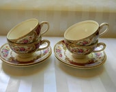 RESERVED - Vintage Myotts Royal Crown, The BOUQUET,  Maroon, (4) Cups and Saucers
