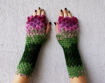 Fingerless gloves Handmade arm warmers Scaled Fingerless mittens Wrist warmers Warm winter gloves Texting Driving glove