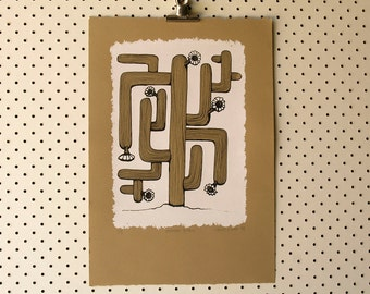Limited Edition 'Saguaro Tetris' hand-pulled screen print Serigraph Art Print