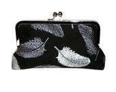 Black and Silver elegant Clutch - Feathers and polka dots - Silver kisslock frame