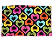 Baby Blanket - Rainbow hearts fleece fabric - Pink swirl Minky
