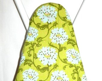 Ironing Board Cover - Flowers in lime green, pale pink and blue - Laundry and Housewares