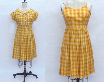 Vintage 1950s 1960s Swing Dress + Cropped Jacket. 50s day dress. 2 piece outfit. Yellow White Gold plaid
