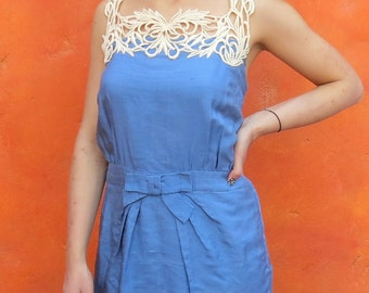 Vintage 1940s WWII Women's Cornflower blue LAce trim Day Dress. Mini Dress. Hemmed short. medium large