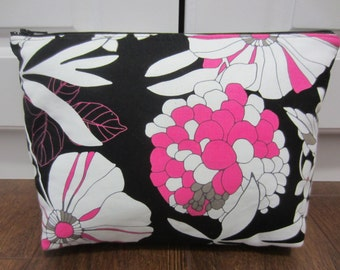 Large Cosmetic Bag, Makeup Case, Large Zippered Pouch, Travel Case, Black Pink and White Zippered Pouch, Medication Pouch, Diaper Bag Pouch