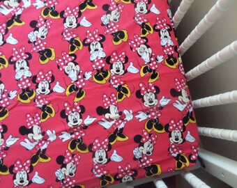 Minnie Mouse & Polka Dots ! ...  Baby crib or Toddler bed Fitted Sheet sewn by me
