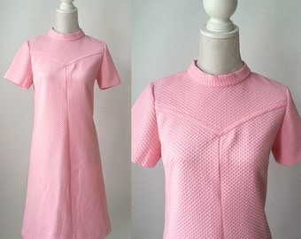 Vintage Pink Dress, 1970s Pink Dress, Retro 70s Dress, Vintage Poly Dress, Pink Polyester Dress, 70s Day Dress, 1970s Casual Dress, Office