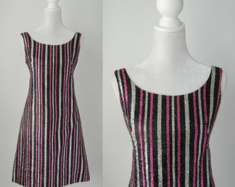 Vintage 1960s Pink, Silver & Black Striped Mod Go Go Dress