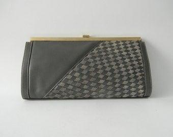 Vintage Purse, Vintage Clutch, Grey Leather Clutch, Bugatti Purse, Gray Pocketbook, Grey Leather Purse, 1980 Leather Clutch, Vintage Leather