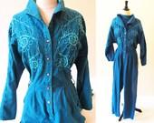 Vintage Jumpsuit, 80s Blue Vintage Romper, Cotton Jumpsuit, One Piece Playsuit