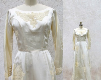 Vintage 50s Wedding Dress, Satin and Lace Bridal Gown, 1950 Bride, Movie Star Gown, Long Ivory Dress, Made in the USA