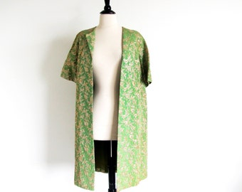 Vintage 50s Green Coat, 50s 60s Evening Coat, Brocade Jacket, Short Sleeve Coat