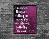 Art Print Digital Literary Quote Night Poster Purple Black Dreamer Anais Nin Quote Print Celestial Art Print Stars Art Print Typography