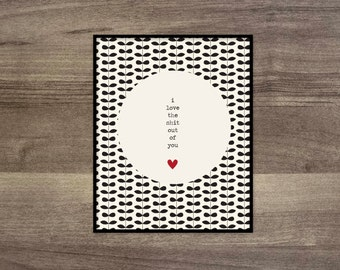 Funny Love Adult Humour Art Poster Fun Digital Art Print Set Black Cream White Typography Polka Dots I Love the Shit Out of You