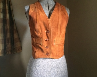 70's Brown Suede Vest…perfectly worn in!