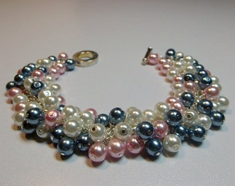 White Pink Teal Blue Pearl Cluster Bracelet, Christmas Wedding Bridesmaid Mother Sister Girlfriend Jewelry Gift