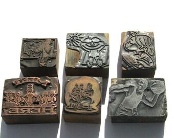 Vintage Copperplate Print Blocks: Copper or Metal on Wood Letterpress Print Blocks, 6 Printer Blocks