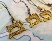 Bronze Singer Sewing Machine Cellphone Charms Zipper Pulls