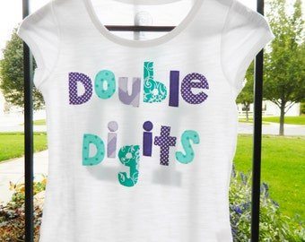 Personalized front, back, Teal, purple double digits for 10 years, personalized applique SHIRT, girl tween, turquoise birthday number, name