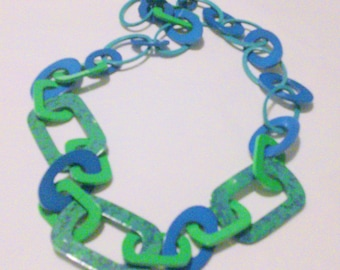 Vintage Blue and Green Chunky Plastic Link Long Chain Necklace