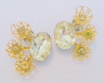 Vintage 1950's Yellow Rhinestone and Enamel Statement Earrings