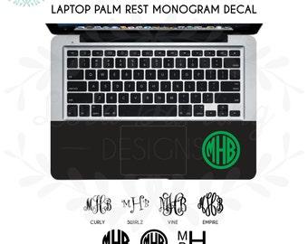 Laptop Palm Rest Monogram Vinyl Decal