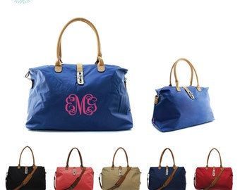 Monogram Weekend Tote w/ Clasp/ Overnight Bag/ Carry On