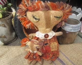 LIL FOLK DOLLS Newly Designed by thebagglady76 Handmade n Hand Stitched Fall Art Dolls Funky n Whisical