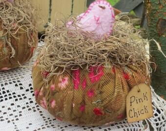 PINK CHICK PUMPKIN handmade lil chicken up cycled