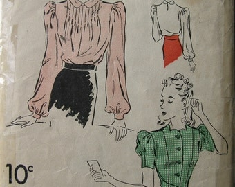 Fabulous Vintage 30s Misses' Blouse Pattern LOVELY BLOUSE SET