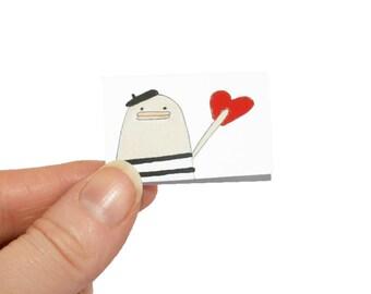 Tiny Birthday Card, I Love You Card, Miniature Greeting Card & Tiny Envelope, Funny Birthday Card, Blank I Love You Card, French Love Card