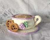 Crocheted Pin Cushion - Cup and Saucer Amigurumi - Made to Order