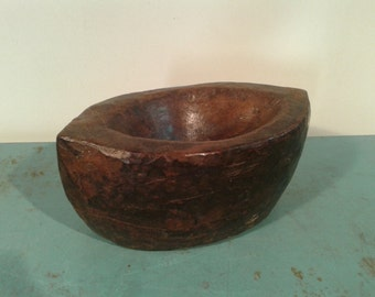 Vintage Indian wooden  morter bowl,  hand carved bowl, centerpiece,  teak fruit bowl, rustic decor