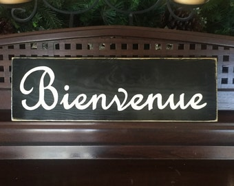 BIENVENUE French Country Decor Sign Plaque Welcome Paris Apt Chic Hand Painted Wooden You Pick Color Gallery Wall Art Francophile
