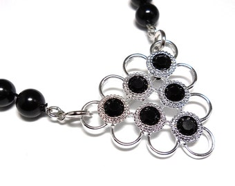Vintage Sarah Coventry Classic Black Beaded Necklace / Brooch