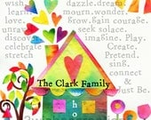 8 x 10 PERSONALIZED Family HOME PRINT