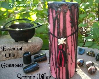 "SCORPIO PILLAR CANDLE ~ 2.5"" x 6"" - Rattle Snake Bone & Gemstones ~ Gift Box or Vintage Black Cast Iron Cauldron 5"" x 2"""