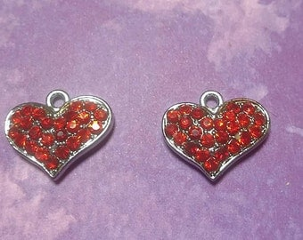 New 2 Cute Metal Red Crystal Hearts Charm Pendant
